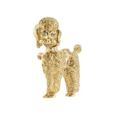 Gold and Diamond Poodle Brooch Circa 1950