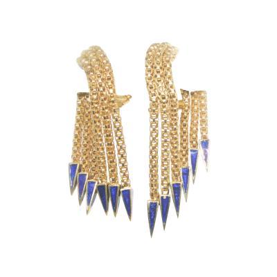 Gold and Enamel Retro Earrings