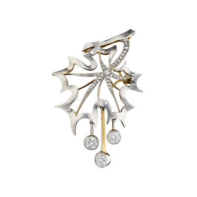 Gold and Platinum Maple Leaf Brooch with Diamonds