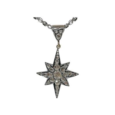 Gold and Silver Diamond Star Sunburst Pendant C 1900