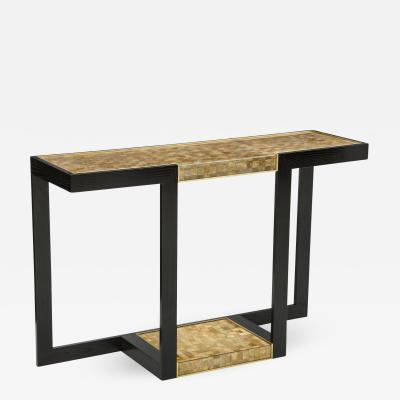 Gold and Silver Woven Mica Console