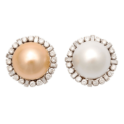Gold and White South Sea Pearl Diamond Earclips