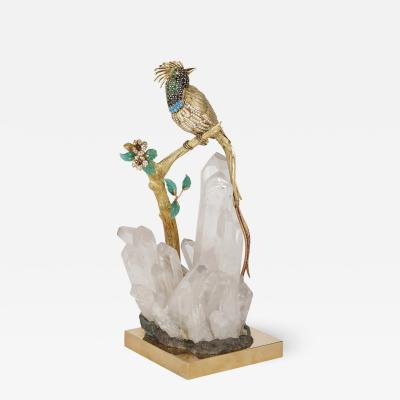 Gold diamond and gemstone model of a bird of paradise