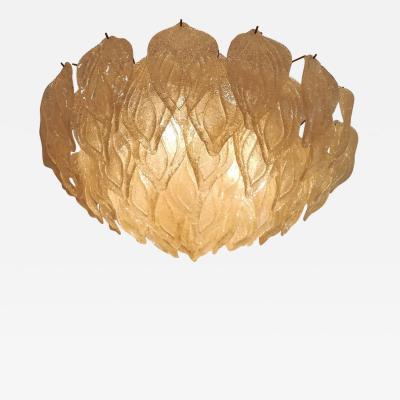 Golden Leaves Murano Glass Chandelier
