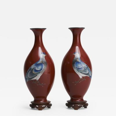 Gonda Hirosuke An exquisite pair of Japanese Cloisonne vases