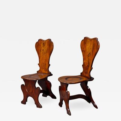 Good Pair of George III Elm Hall Chairs