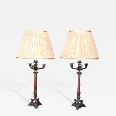 Good Pair of Regency Four Light Bronze and Marble Candelabra