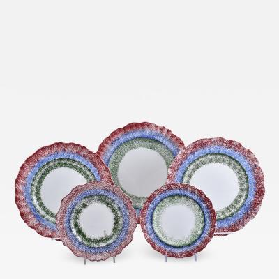 Good set of five 19th C English Spatterware Adams three color plates