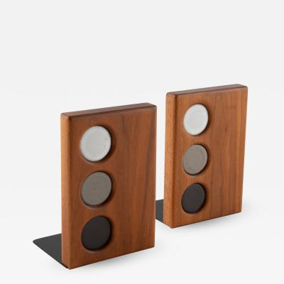 Gordon Jane Martz 1960s ceramic and walnut bookends by Gordon and Jane Martz for Marshall Studios