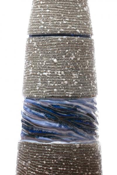 Gordon Jane Martz Gordon Jane Martz Blue Glazed Ceramic Walnut Floor Lamp circa 1955
