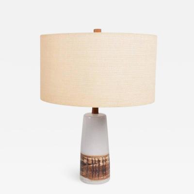 Gordon Jane Martz Gordon Jane Martz Modern White Ceramic Teak Table Lamp 1960s