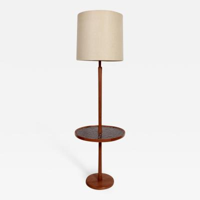 Gordon Jane Martz Jane and Gordon Martz Teak Cocoa Ceramic Coin Tile Side Table Floor Lamp 1960