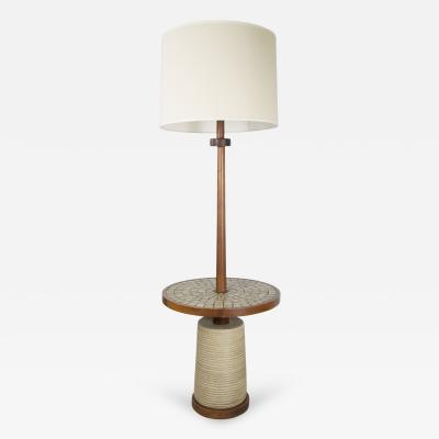 Gordon Jane Martz Rare Walnut Floor Lamp with Integrated Mosaic Table by Jane and Gordon Martz