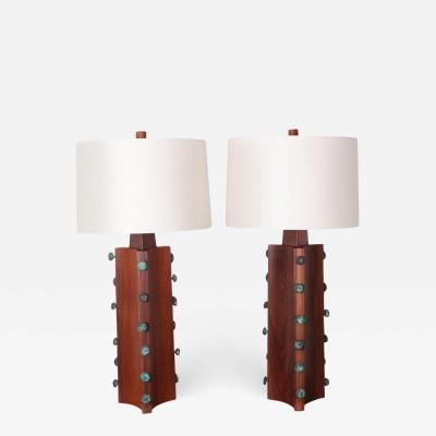 Gordon Martz Pair of Gordon Martz Walnut and Bronze Lamps