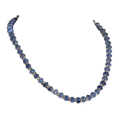 Gorgeous 19 Inch Necklace of Blue Kyanite Alternating with Silver Bali Beads