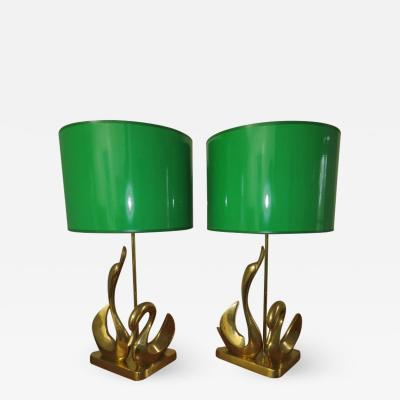 Gorgeous Pair Solid Brass Mid Century Modern Stylized Swan Lamps