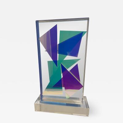 Grace Absi American Modern Monolithic Hand Colored Lucite Sculpture Grace Absi