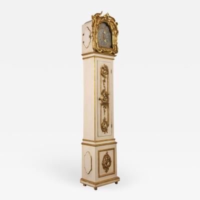 Grand 1803 Continental Rococo Painted w Gilt Tallcase Clock
