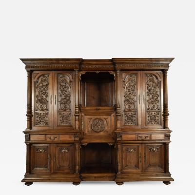 Grand 19th Century Renaissance Heavily Carved Solid Walnut Cabinet