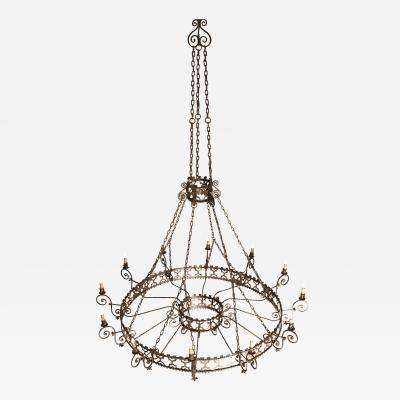 Grand Colonial Wrought Iron Chandelier 12 Light