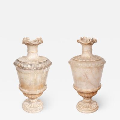 Grand Pair of 18th Century Alabaster Urns