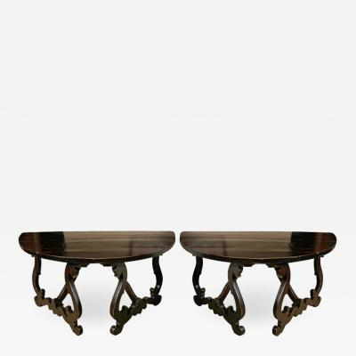 Grand Pair of Tuscan Walnut Demilunes