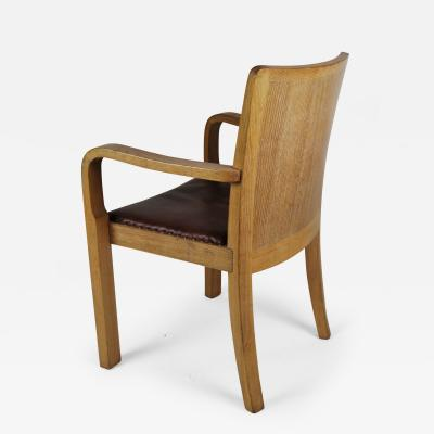 Grand Scale Armchair in Cerused Oak and Leather