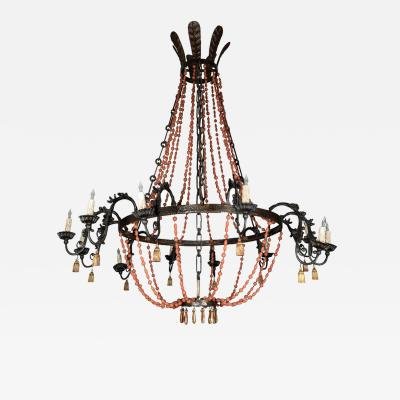 Grand Scale Iron and Wood Bead Chandelier