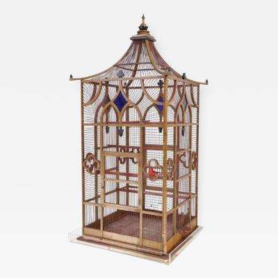 Grand Scaled Gothic Victorian Birdcage on Stand England Circa 1870