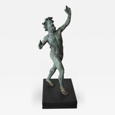 Grand Tour Bronze of The Dancing Faun with Natural Verdigris Finish