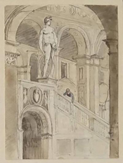 Grand Tour Charcoal and Watercolor Architectural Drawing