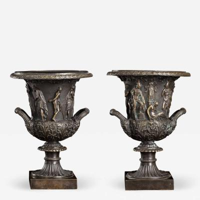 Grand Tour Sculptures Pair Bronze Medici Vases After The Antique