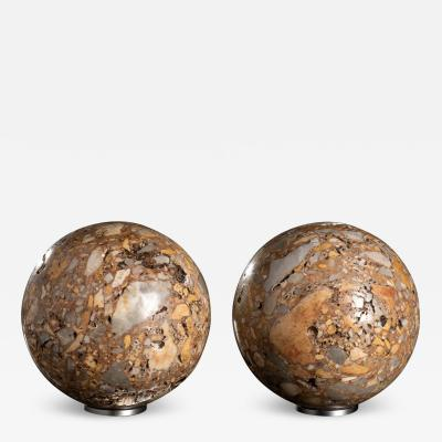 Grand Tour Specimen Marble Breccia Semesanto Pair of Sculpture Spheres
