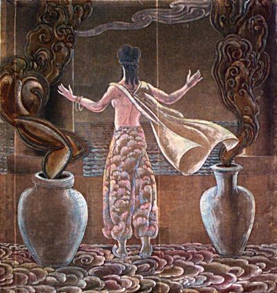 Grant Simon American Art Deco Vertical Painted Velvet Wall Hanging