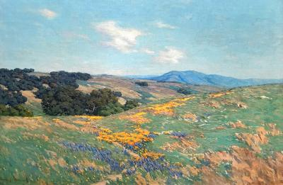 Granville Redmond Poppies and Lupine in a Landscape