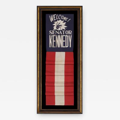 Graphic Banner Welcoming John F Kennedy as Senatore from Massachusetts