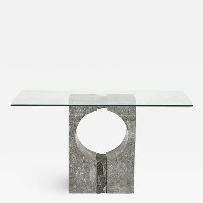 Graphic Tessellated Marble Console Table 1980