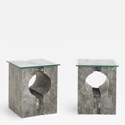 Graphic Tessellated Marble Side Table 1980