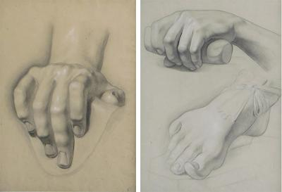 Graphite on paper two artist studies of hands and extended foot