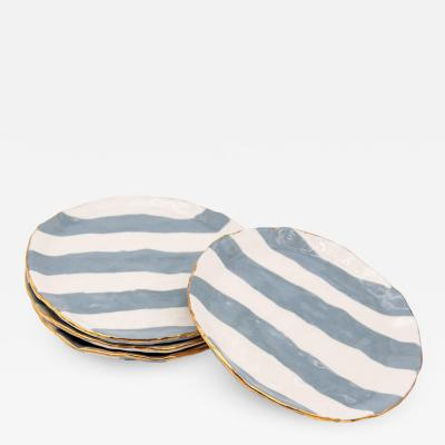 Gray and white Striped clay petit dish with Gilding