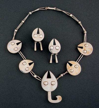 Graziella Laffi Set of Sterling Silver Necklace and Earrings Graziella Laffi
