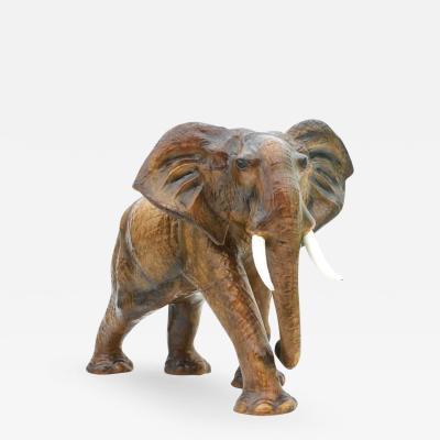Great Large Leather Elephant France 1960s