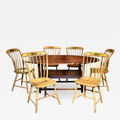 Great matched set of six 19th C step down Windsor side chairs