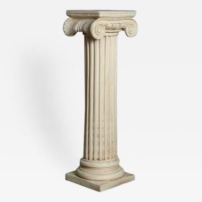 Greek Style Plaster Pedestal or Column with Chapiteau in Ionic Order