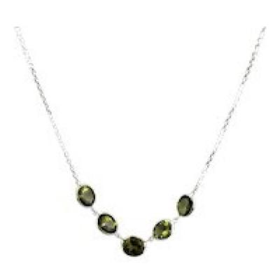 Green Chrome Tourmaline Necklace in 14KT White Gold