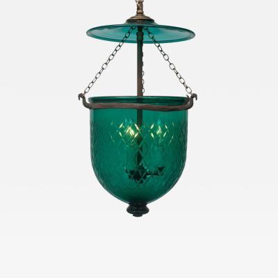 Green Diamond Cut Bell Jar Lantern