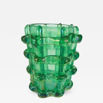Green Glass Murano Vase with Basket Weave Motif