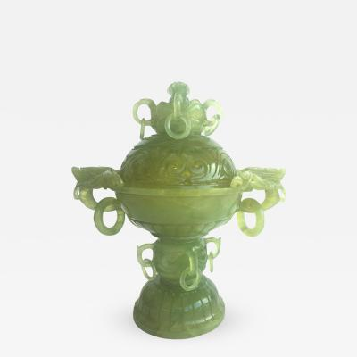 Green Jade Incense Burner with Dragons and Rings