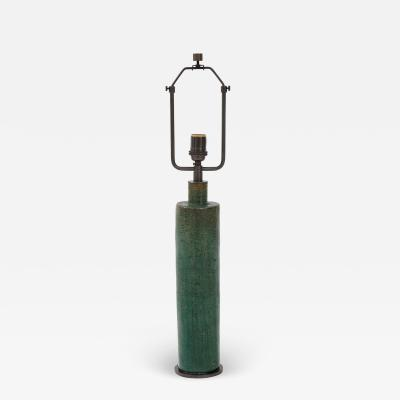 Green Mid Century Danish Ceramic Cylinder Table Lamp