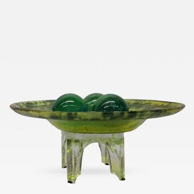 Green Murano Glass Decorative Bowl with Balls on Stand